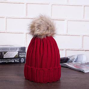 Щільна яскрава дуже гарна шапка з помпоном