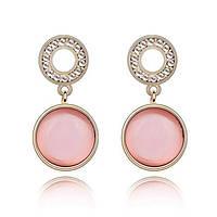 Изысканные Серьги висюльки с розовым круглым камнем