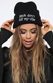 Стильна модна шапка bitch don't kill my vibe