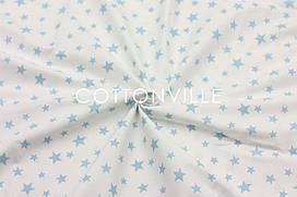 Ранфорс 240 см Блакитні зірочки на білому