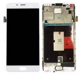 Дисплей OnePlus 3 A3003, 3T A3010 с тачскрином белый в рамке TFT