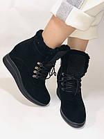 Зимові черевики натуральне хутро, натуральна замша. Прихована танкетка. Р. 38,39.Vistally., фото 2