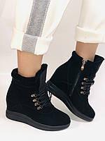 Зимові черевики натуральне хутро, натуральна замша. Прихована танкетка. Р. 38,39.Vistally., фото 6