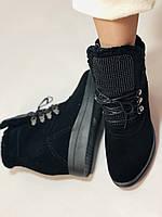 Зимові черевики натуральне хутро, натуральна замша. Прихована танкетка. Р. 38,39.Vistally., фото 9
