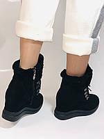 Зимові черевики натуральне хутро, натуральна замша. Прихована танкетка. Р. 38,39.Vistally., фото 4