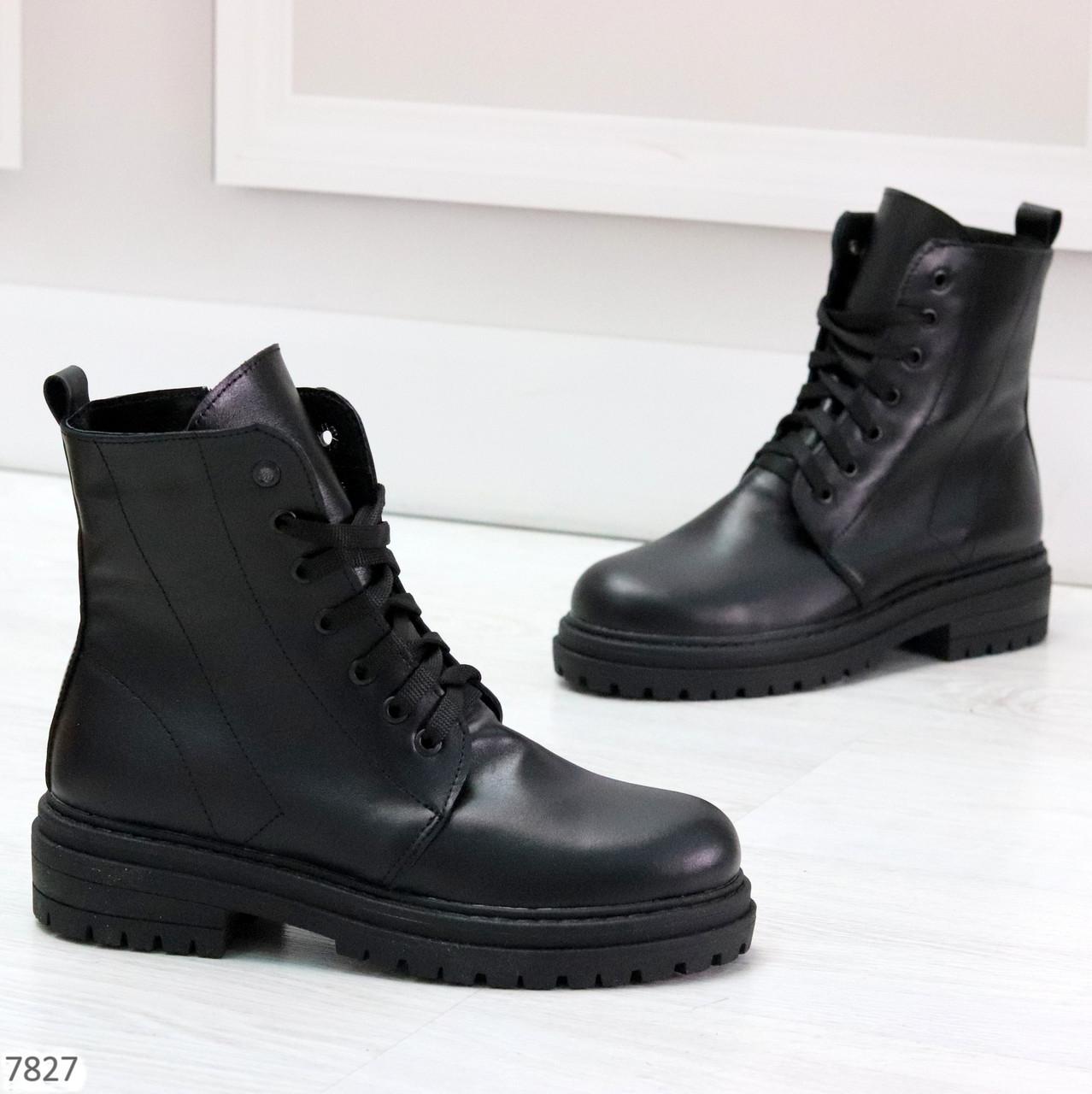 Молодежные классические черные женские зимние ботинки натуральная кожа