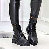Молодежные классические черные женские зимние ботинки натуральная кожа, фото 2