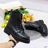 Молодежные классические черные женские зимние ботинки натуральная кожа, фото 4