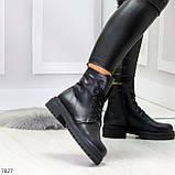 Молодежные классические черные женские зимние ботинки натуральная кожа, фото 5