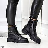 Молодежные классические черные женские зимние ботинки натуральная кожа, фото 6