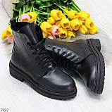 Молодежные классические черные женские зимние ботинки натуральная кожа, фото 9