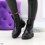 Молодежные классические черные женские зимние ботинки натуральная кожа, фото 10