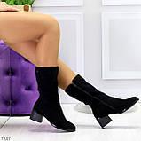 Элегантные черные замшевые женские зимние сапожки на низком каблуке, фото 2