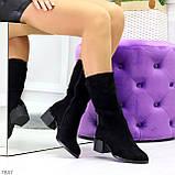 Элегантные черные замшевые женские зимние сапожки на низком каблуке, фото 4