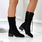 Элегантные черные замшевые женские зимние сапожки на низком каблуке, фото 5