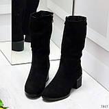 Элегантные черные замшевые женские зимние сапожки на низком каблуке, фото 9