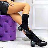 Элегантные черные замшевые женские зимние сапожки на низком каблуке, фото 10