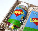 """Набор для влюбленных """"Любовь всерьез"""": жвачки """"Лав из"""" в баночке, упаковка печений с предсказаниями """"Love is"""", фото 4"""