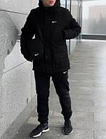 Комплект мужской зимний теплая парка и демисезонные штаны цвет черный