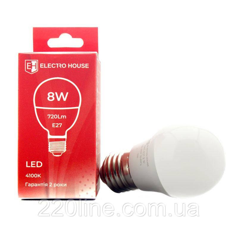 "ElectroHouse LED лампа ""шар""  E27/4100K/8W 720Lm /180° G45"