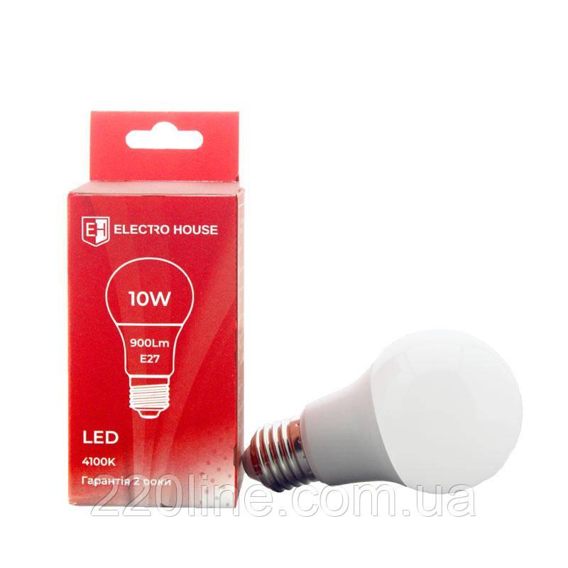 ElectroHouse LED лампа E27/ 4100K / 10W 900Lm /220° A60