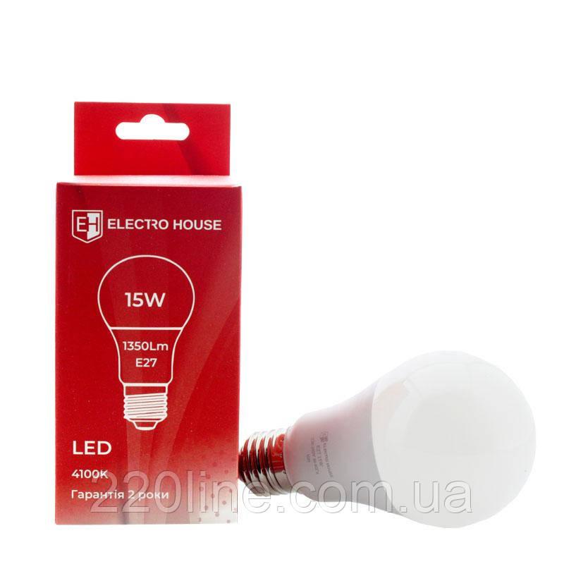 ElectroHouse LED лампа E27 / 4100K / 15W 1350Lm /220° A65