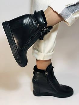 Натуральный мех. Люкс качество.Женский зимний ботинок на скрытой танкетке. Натуральная кожа.Lady Like Р.38.40.