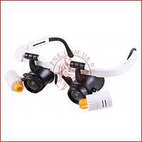 Лупа годинникаря 9892RD, збільшувальні окуляри з підсвічуванням, змінні лінзи, компактні