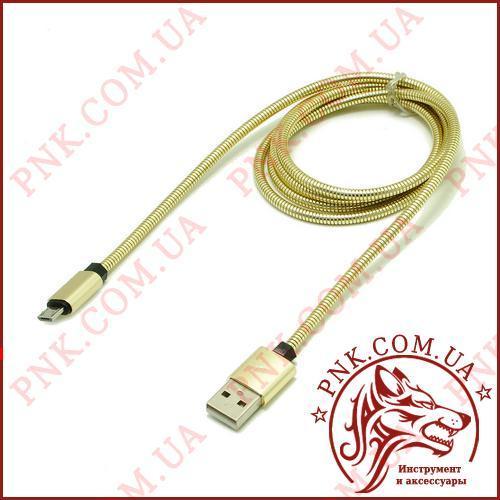 Кабель J-16 USB - Micro usb в металлической оплетке, 1 метр