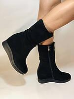 Натуральный мех. Женские зимние ботинки. На платформе. Натуральная замша. Vistally. Р.38, 40.