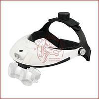 Бинокулярная лупа MG81001-H, увеличительные очки для пайки с подсветкой, удобная фиксация на голове, фото 1