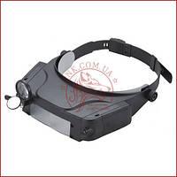 Бінокулярна лупа з підсвічуванням MG81007-C, окуляри для пайки і ремонту, зручне кріплення на голові