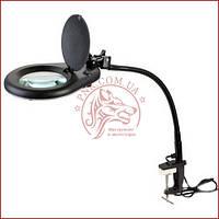 Лупа-лампа ZD-129В Led, на струбцине, круглая, 5Х, диам-130мм, чёрная