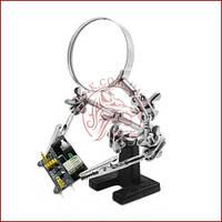 Держатель для пайки Третья Рука JM-501 (ZD10-D), стеклянная лупа 60мм., чугунная подставка, зажимы, фото 1