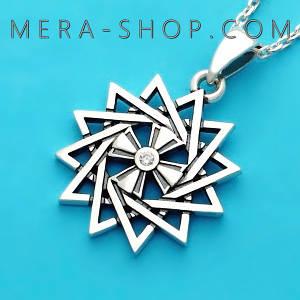 Серебряная Звезда Эрцгаммы двухсторонняя с топазом белым - амулет Эрцгамма (24 мм, 4.7 г)