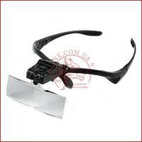 Збільшувальні окуляри лупа для косметолога, бинокуляр для нарощування вій 9892B з Led підсвічуванням