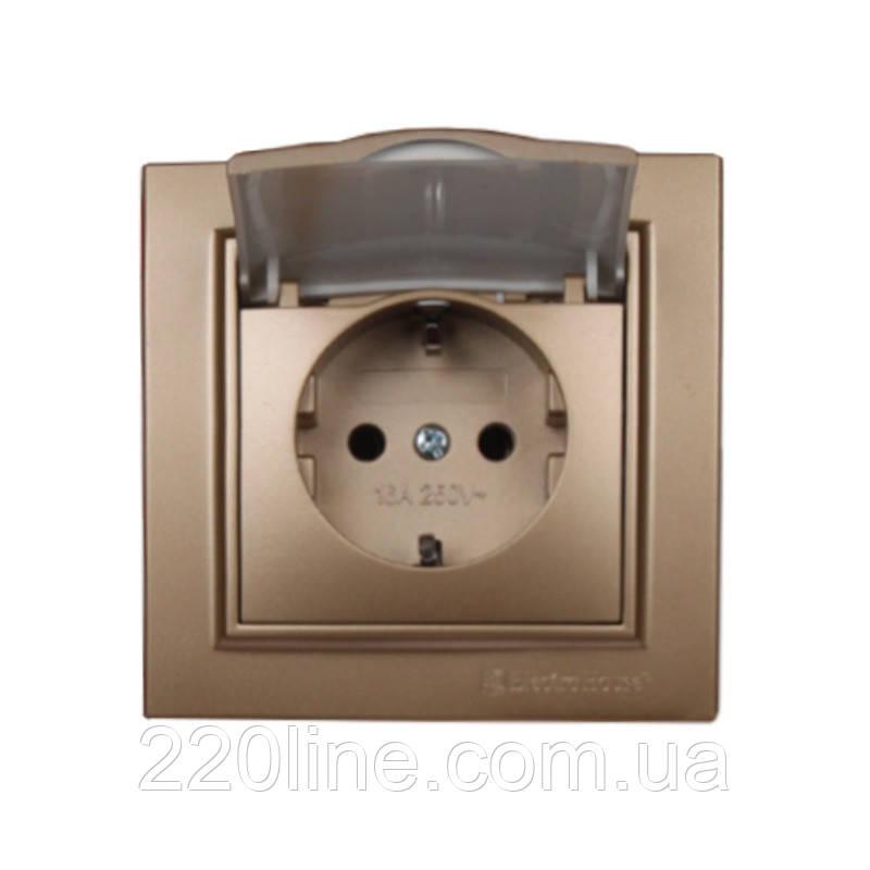 ElectroHouse Розетка с крышкой Роскошно золотой Enzo 16A IP22