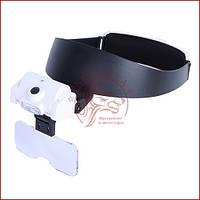 Увеличительные очки лупа MG82000-J, Led подсветка, сменные линзы, удобная фиксация на голове