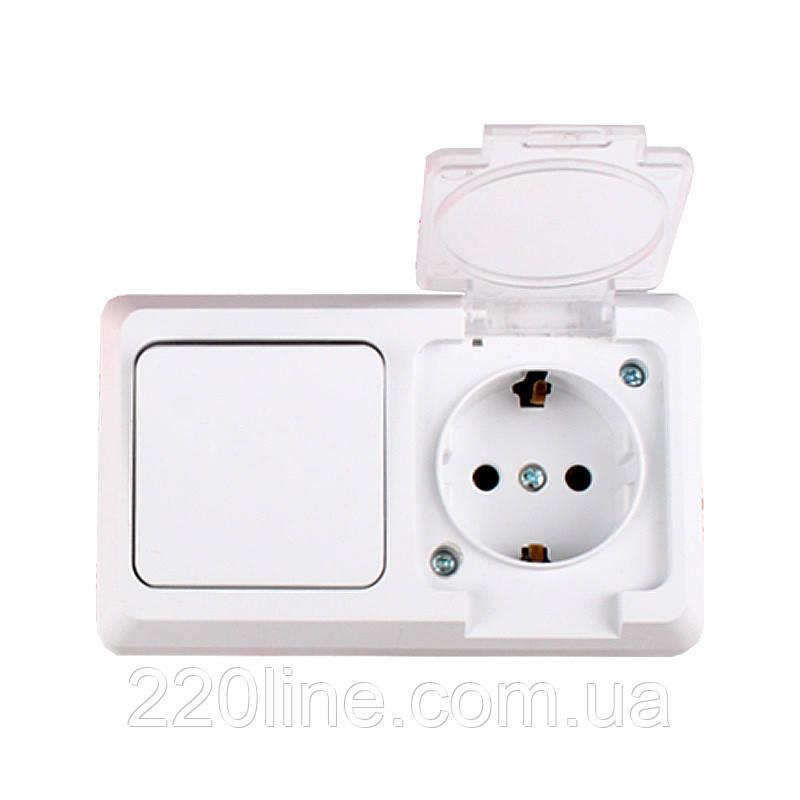 ElectroHouse Блок выключатель и розетка с заземлением Hummer белая  16A IP54