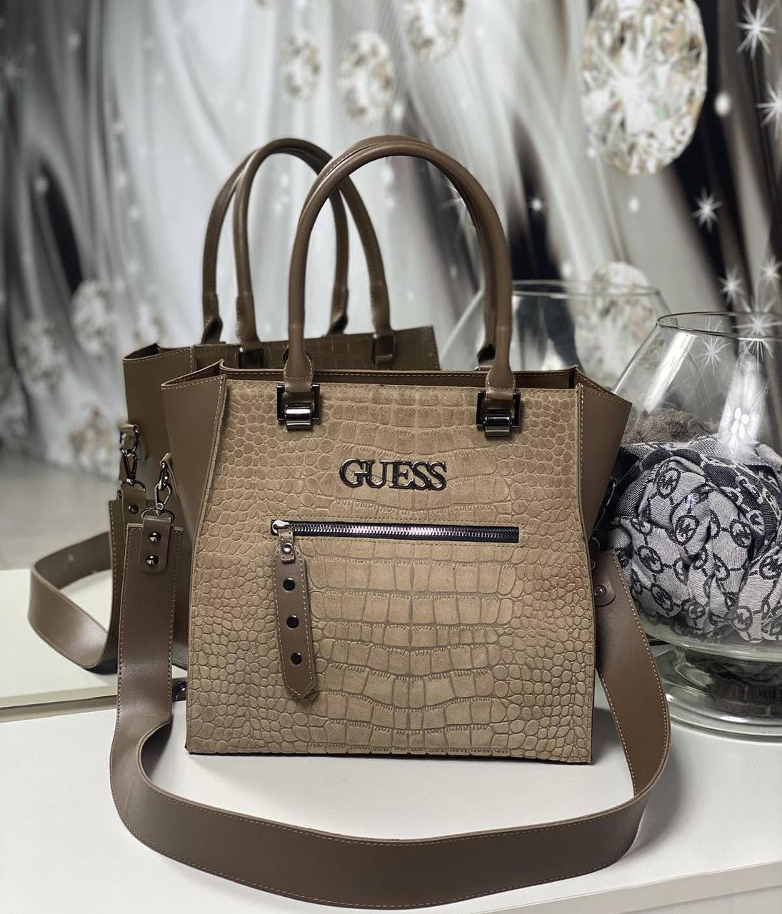 Женская сумка классическая модная небольшая повседневная квадратная стильная капучино замша+экокожа