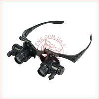 Бинокулярная лупа очки 9892G8KX, Led подсветка, 8 пар линз, кратность от 2,5X до 25X