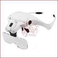 Збільшувальна лупа окуляри, Бинокуляр для косметолога 9892B2 з Led підсвічуванням