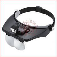 Бинокулярная лупа очки MG81001-A, Led подсветка, сменные линзы, удобная фиксация