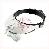 Бинокулярная лупа очки MG81001-G, Led подсветка, сменные линзы, удобное крепление, фото 1