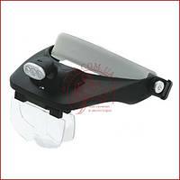 Бінокулярна лупа окуляри MG81001-E з підсвічуванням, для дрібних робіт