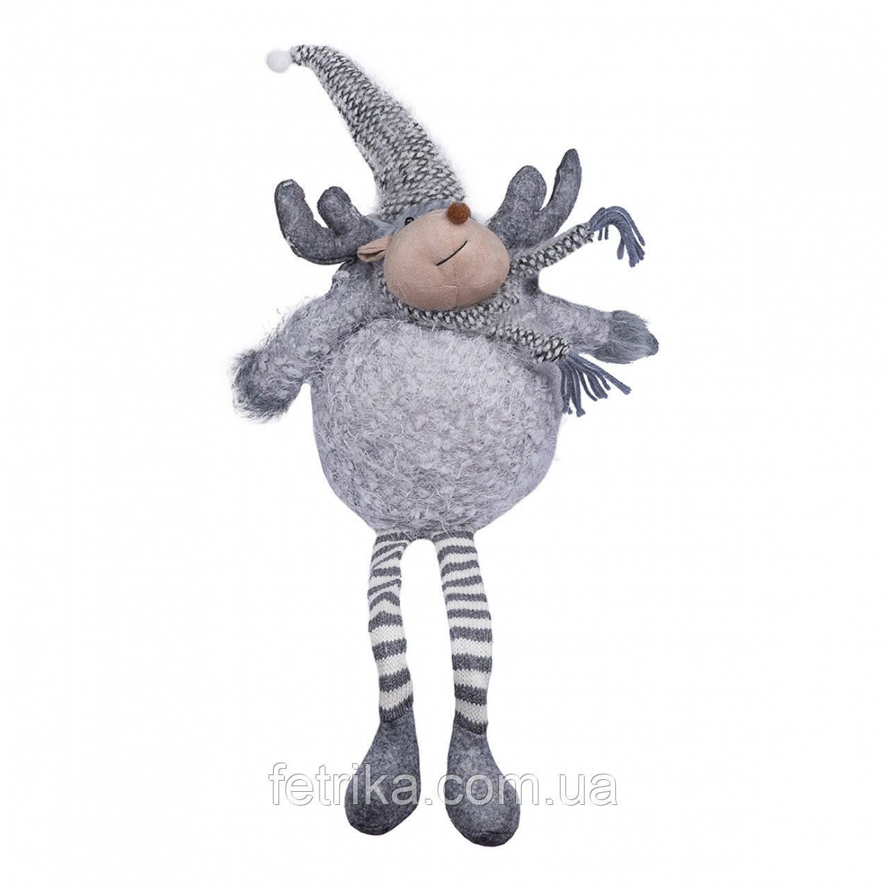 Декоративный новогодний олень, 24*14*61 см, серый