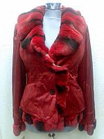 Куртка пехора с меховым воланом красная