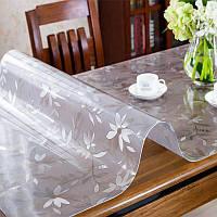 Гибкая скатерть мягкое стекло с принтом на прямоугольный стол. Защитная пленка ПВХ-Силикон, 1,5 мм толщина.