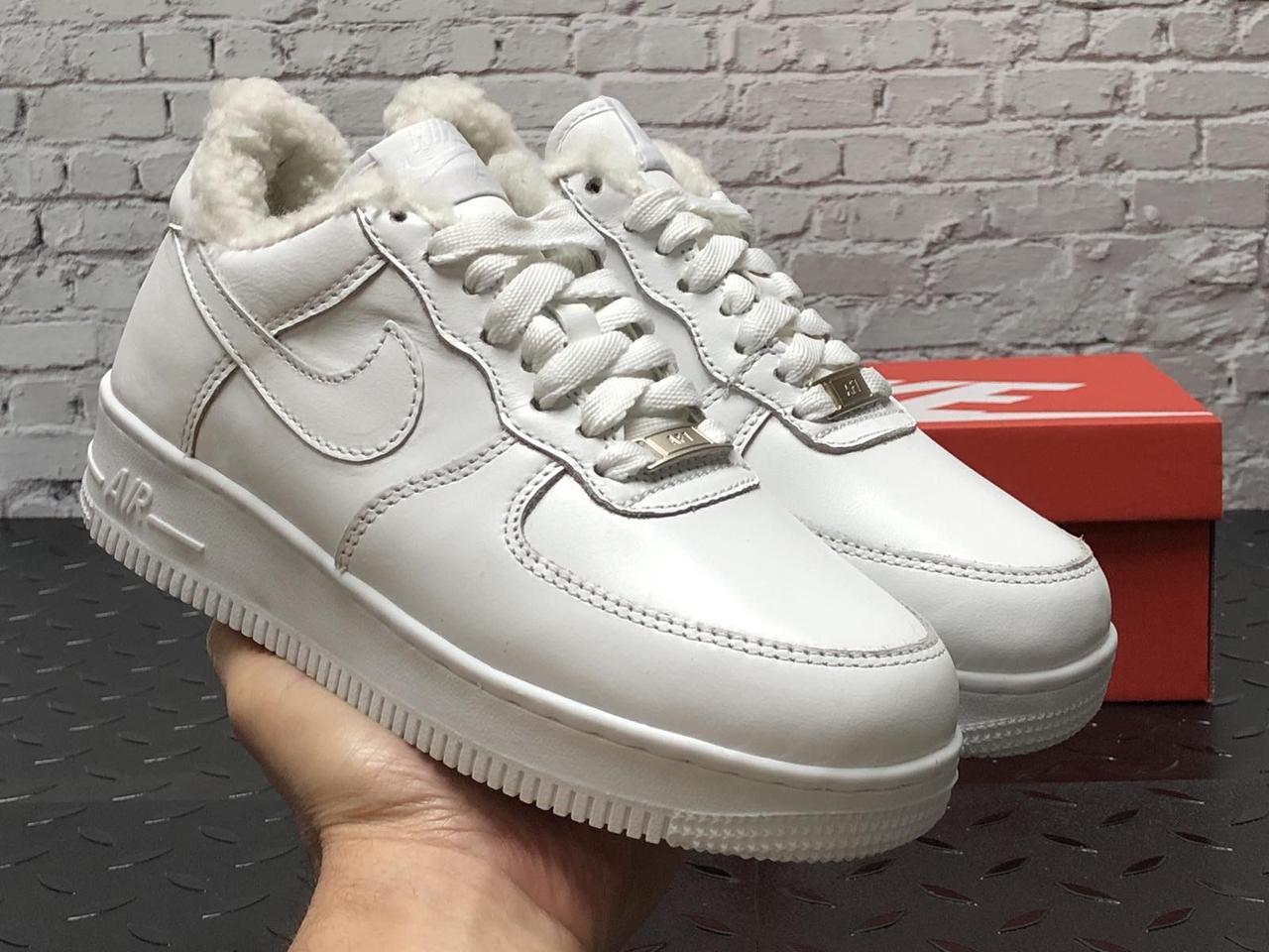 Зимние мужские кроссовки Nike Air Force white с мехом. ТОП Реплика ААА класса.