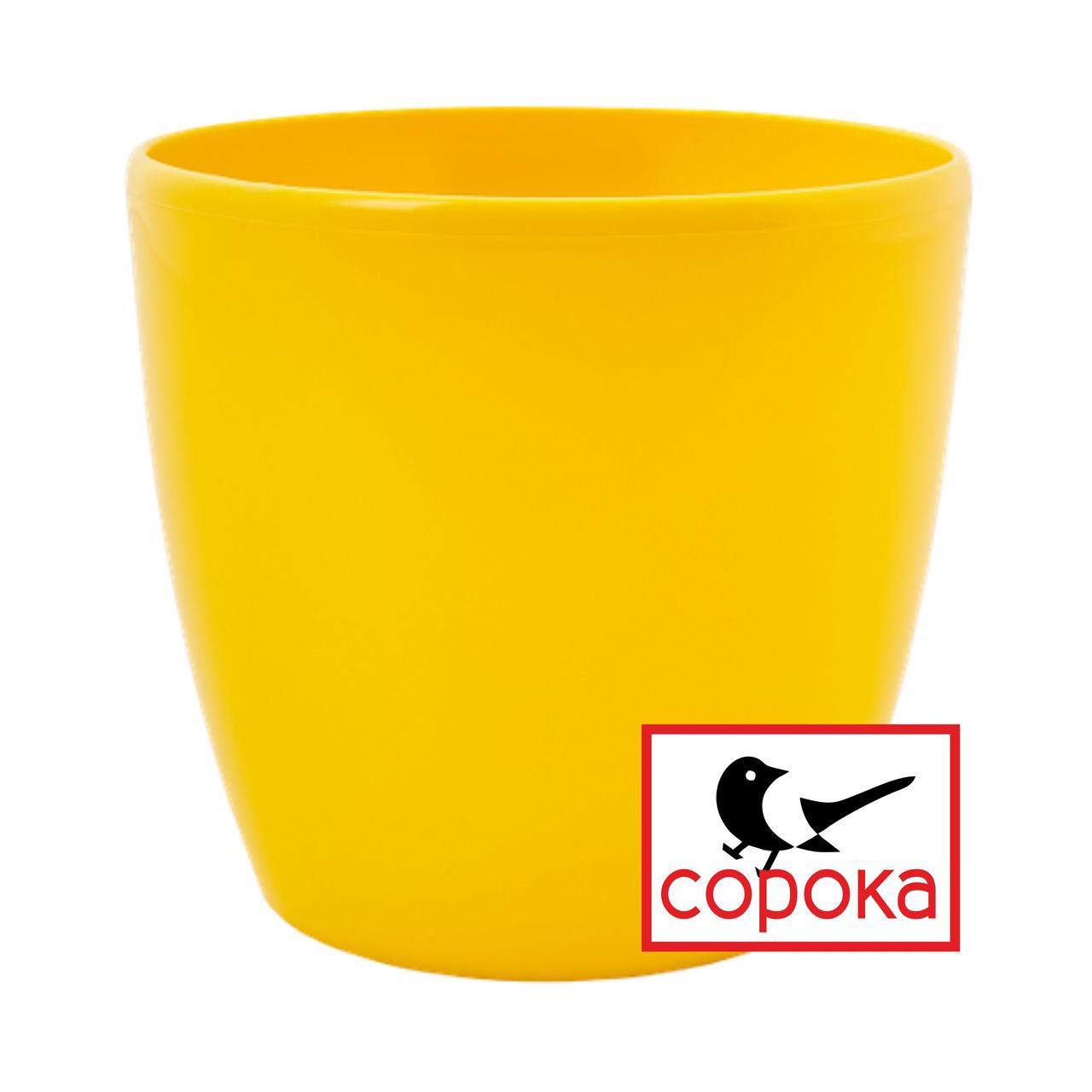 Вазон для цветов Алеана Матильда 12*11см желтый 0,9л (Горшок для цветов пластиковый Алеана Матильда)